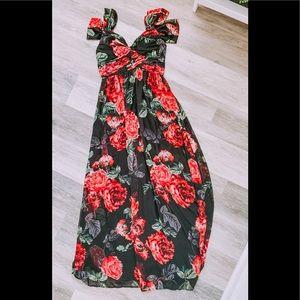 Boutique Soieblu red rose maxi dress